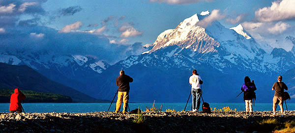 Mount Cook, South Island, New Zealand, with photo tour clients taking a picture