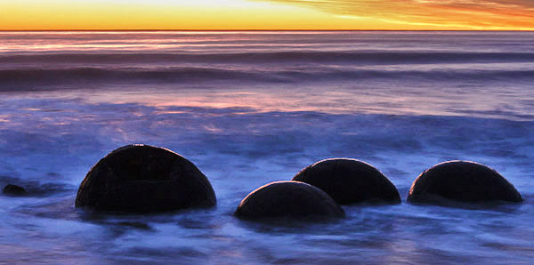 Moeraki Boulders at dawn, South Island, New Zealand photo tour image