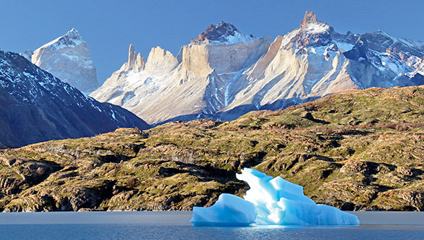 Lago Grey and a remnant from Grey Glacier, Torres del Paine, Chile