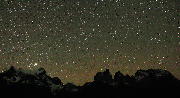 Patgonia: Cuernos, the horns, Torres del Paine, Chile: Night sky