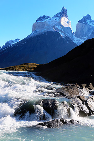 Patgonia: Cascade on the River Paine, with Cuernos, the horns, Torres del Paine, Chile