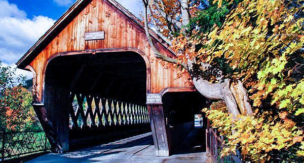 Middle covered bridge, Woodstock, Vermont, New England